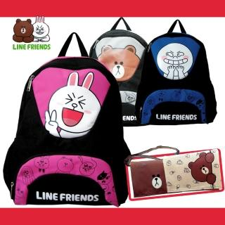【LINE FRIENDS】雙層書背包+小側包(熊大/饅頭人/兔兔_LI4)