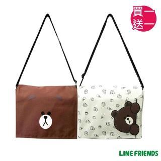 【買一送一】LINE FRIENDS無辜熊大平板側背包(中-咖/米_5425)