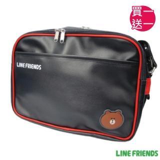 【買一送一】LINE FRIENDS 休閒皮質側背包(黑紅_無辜熊大_5217)