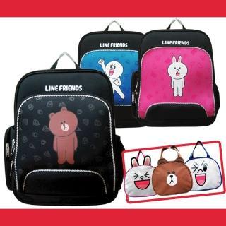 【LINE FRIENDS】EVA護脊雙層書背包+造型便當袋(熊大/饅頭人/兔兔LI1)
