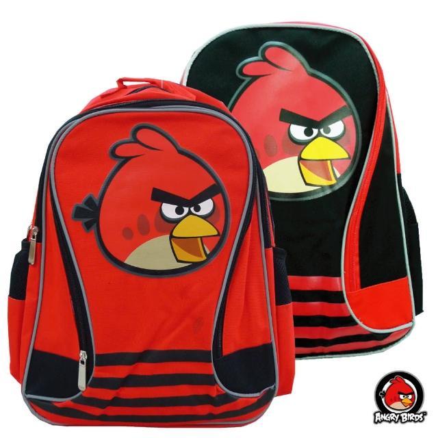 【Angry Birds憤怒鳥】造型條紋護脊書背包_A款(黑/紅_AB4893)