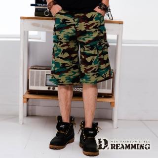 【Dreamming】韓系街頭迷彩多口袋伸縮休閒短褲(咖啡)