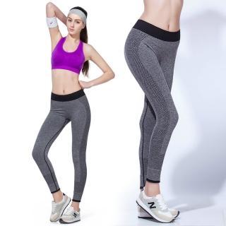【LOTUS】高彈力慢跑瑜珈九分快乾運動褲(灰色)