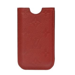 【LV】M60367經典Monogram小牛皮 IPHONE 4 手機套(橘紅)