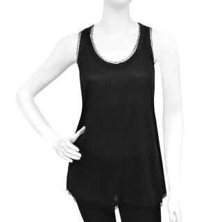 【GUCCI】蕾絲無袖挖背長版上衣(黑色/XS號)