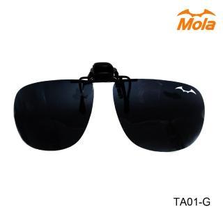 【MOLA】近視/老花眼鏡族可戴-摩拉前掛可掀夾式偏光太陽眼鏡鏡片(大翻灰)