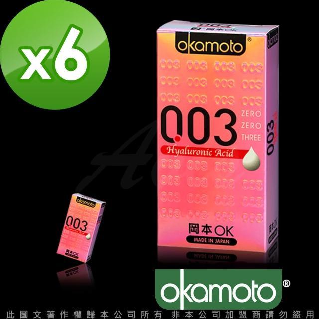 【岡本003】HA 玻尿酸極薄保險套(6入裝X6盒-12hr)