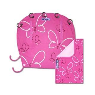 【荷蘭DOOKY魔法斗篷】外出萬用推車隨行毯、遮陽罩組(粉紅蝴蝶)