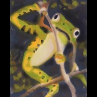 【劉其偉藝術典藏】親筆簽名限量發行石版畫(保育動物系列--樹蛙)