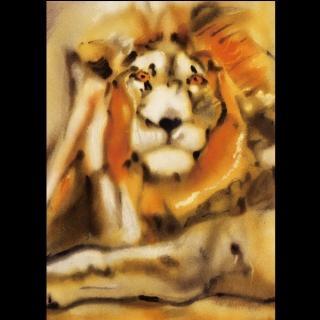 【劉其偉藝術典藏】親筆簽名限量發行石版畫(保育動物系列--獅子)
