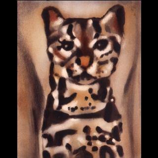 【劉其偉藝術典藏】親筆簽名限量發行石版畫(保育動物系列--豹貓)