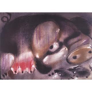 【劉其偉藝術典藏】親筆簽名限量發行石版畫(生肖系列--豬)
