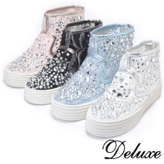【Deluxe】高筒厚底休閒鞋(超透氣蕾絲網紗-黑★白)