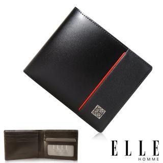 【ELLE HOMME】法式精品嚴選義大利頭層皮、鈔票多層/證件多層/名片多層短夾(黑EL81960-02)
