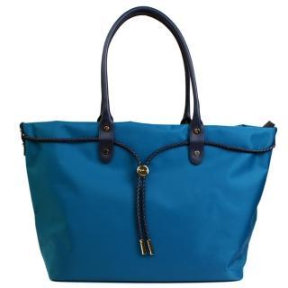 【agnes b.】. 帆布麻繩束袋手提包(大款/藍色)