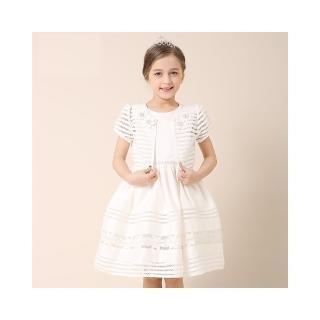 【LIANCAIYI】縷空鉤花披肩禮服洋裝(雪白色)