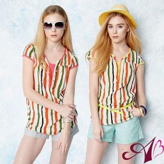 【A3】繽紛夏日線條排釦假兩件上衣(桃紅 / 黃色)