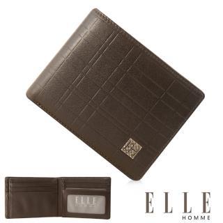 【ELLE HOMME】法式精品義大利頭層皮、鈔票多層/證件層兩面/名片多層短夾(咖啡EL81989-45)