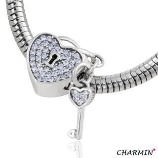 【E&I】CHARMIN 時尚創意手鍊  未完成的愛情  925純銀愛心鑲鑽造型吊飾(淺藍)