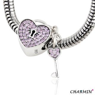 【E&I】CHARMIN 時尚創意手鍊  未完成的愛情  925純銀愛心鑲鑽造型吊飾(淺紫)