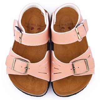 【童鞋城堡】日本娃娃 中童 簡約皮質軟木風格涼鞋(7001-粉)