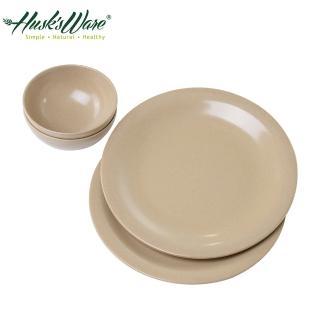 【美國Husk's ware】稻殼天然無毒環保餐碗餐盤4件組