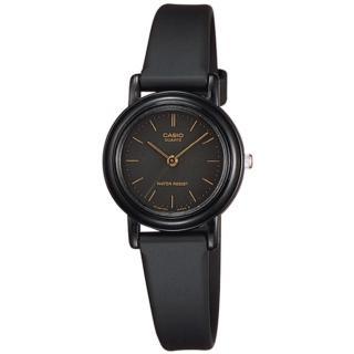 【CASIO 卡西歐】優雅風情時尚皮質腕錶-黑x金/26mm(LQ-139AMV-1ELDF)