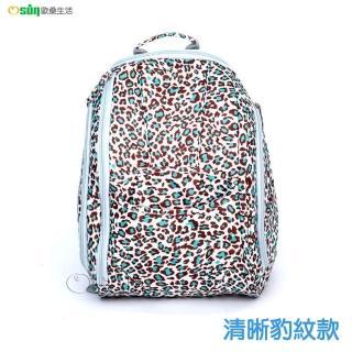 【Osun】防潑水無毒超容量媽咪包、媽媽包、尿布包(清晰豹紋款雙肩前/後背包)