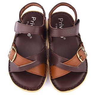 【童鞋城堡】二等兵 中大童 雙色交叉真皮涼鞋(5812-咖)