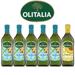 【Olitalia奧利塔】超值樂活玄米油+葵花油禮盒組(1000mlx 6 瓶)