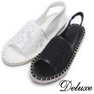 【Deluxe】雪花蕾絲網紗草編涼鞋(黑★白)