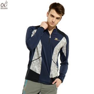 【DEODAR】DEODAR 男款長袖吸濕排汗立領衫(深藍色)