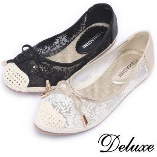 【Deluxe】典雅透膚網紗包頭平底鞋(白★黑)