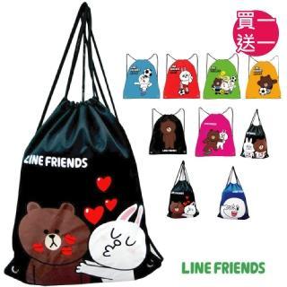 【買一送一】LINE FRIENDS MIT束口後背袋(無辜熊大/兔兔/饅頭人_5180)