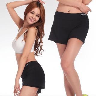 【LOTUS】防走光內襯瑜珈慢跑運動褲(個性黑)