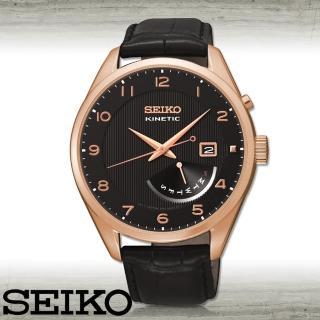【SEIKO 精工】玫瑰金_人電動能石英男錶_錶殼4.2公分(SRN054P1)
