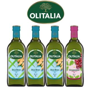 【Olitalia奧利塔】樂活玄米油+葡萄籽油禮盒組(1000 ml x 4 瓶)