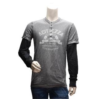 【DOLCE & GABBANA】足球圖案假兩件式亨利領長袖T恤(灰色G8G55G-G7O76)