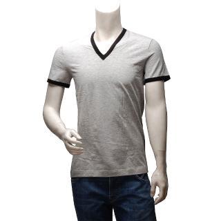 【DOLCE & GABBANA】滾邊V領短袖純棉素面T恤(灰X黑M15221-NERO)
