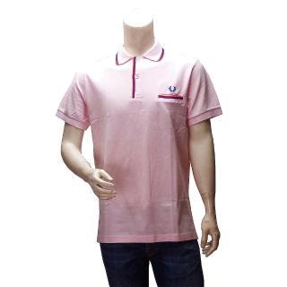 【FRED PERRY】經典刺繡LOGO素面雙色線條立領短袖POLO衫(粉紅30101024-0097)