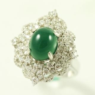 【金郁豐】富麗豪華天然帝王綠翡翠藍寶戒(戒圍10)