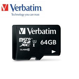 【Verbatim 威寶】64GB microSDHC UHS-1高速記憶卡(含轉卡)