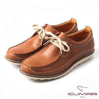 【CUMAR】CUMAR陽光型男‧綁帶式真皮休閒鞋(棕色)