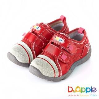 【Dr. Apple 機能童鞋】MIT微笑蘋果帥氣牛仔童鞋(紅)