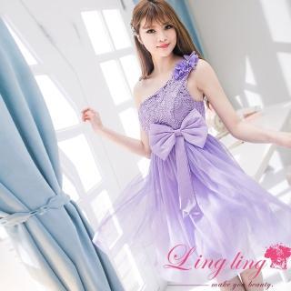 【lingling】雕花蕾絲蝶結網紗飾花斜肩小禮服洋裝PA2035(浪漫紫)