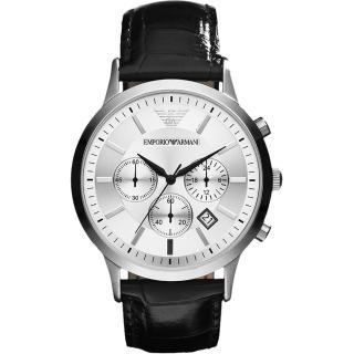 【ARMANI】Classic 王者時尚家三眼計時腕錶-銀x黑/43mm(AR2432)