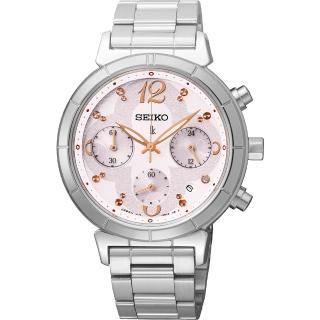 【SEIKO】LUKIA 花漾綻放太陽能計時碼錶-粉紅/35mm(V175-0CZ0S SSC857J1)