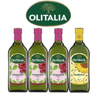 【Olitalia奧利塔】葡萄籽油+葵花油1000mlx4瓶(雙入禮盒組)
