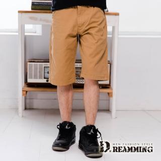 【Dreamming】簡約雙色字母口袋純棉休閒短褲(卡其)