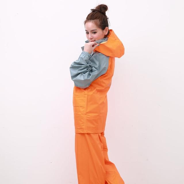【OutPerform雨衣】風動SKY二件式風雨衣-橘/淺灰(機車雨衣、戶外雨衣)